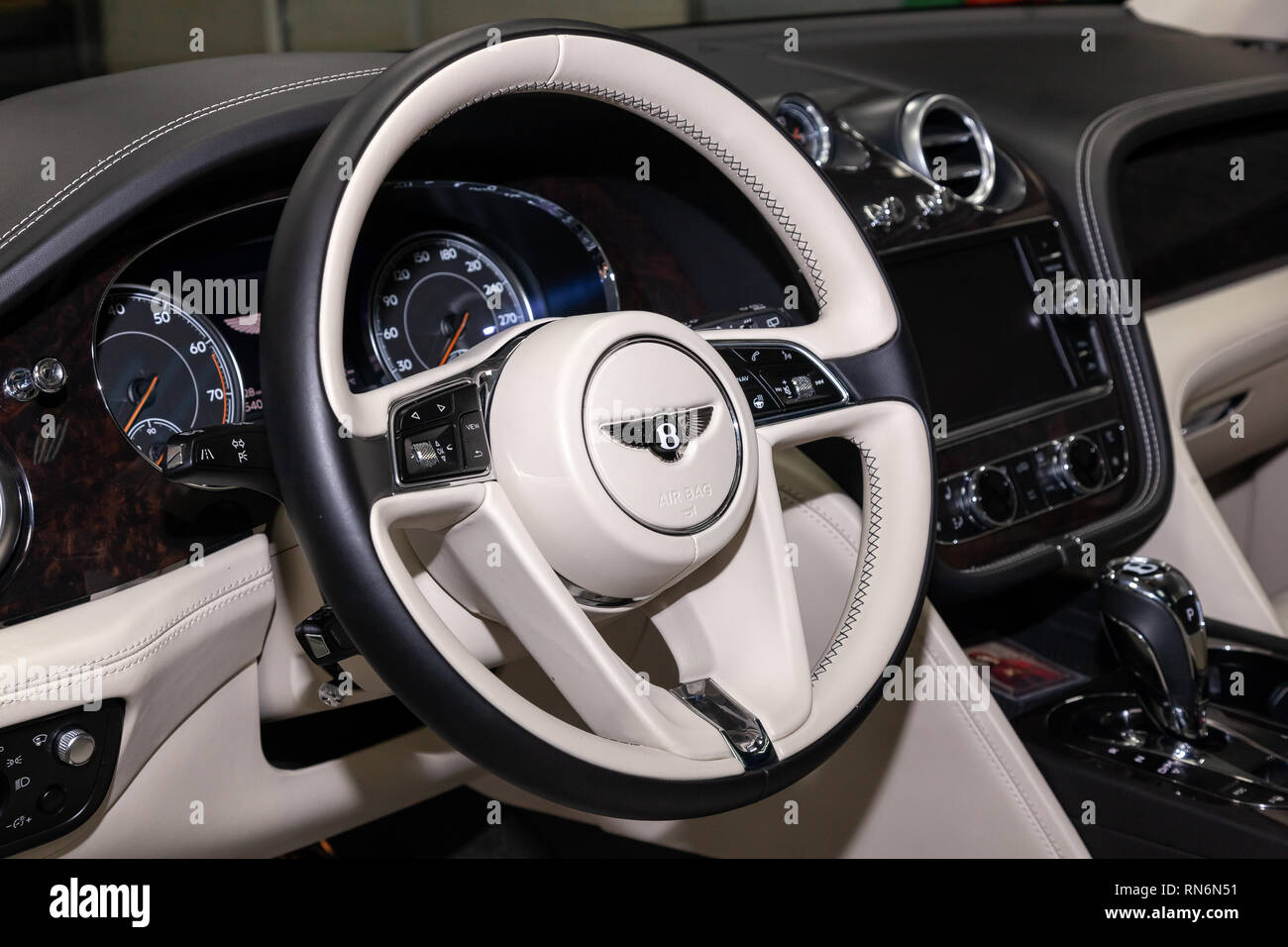 Novosibirsk Russia 08 01 18 Interior View With Steering Wheel Of Luxury Very Expensive New Black Bentley Bentayga Car Stands In The Washing Box Wa Stock Photo Alamy