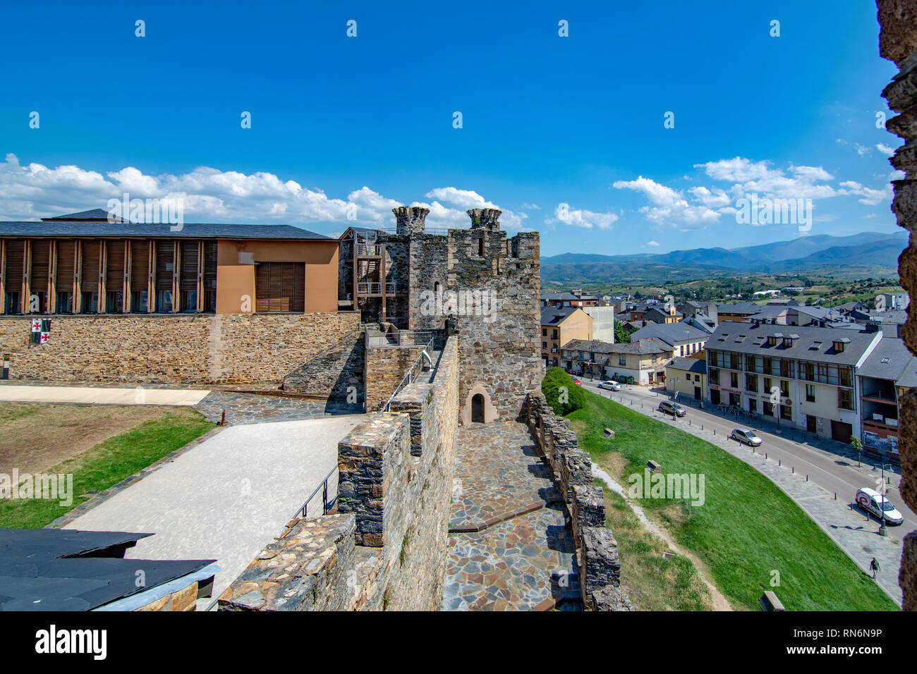 Ponferrada, Leon, Spain; June 2017: view of the Wall of Templar Castle in the  city of Ponferrada province of Leon - Stock Image