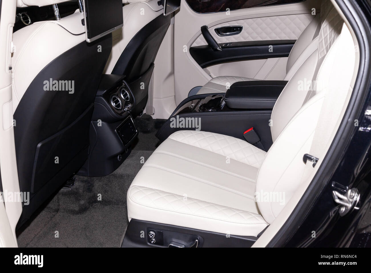 Novosibirsk Russia 08 01 18 Interior View With Rear Seats Of Luxury Very Expensive New Black Bentley Bentayga Car Stands In The Washing Box Waitin Stock Photo Alamy
