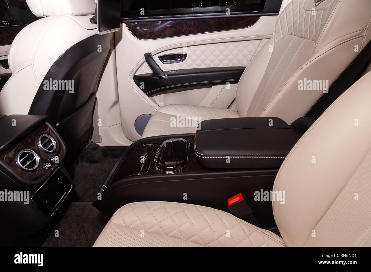 Novosibirsk Russia 08 01 18 Interior View With Central Console On Rear Seat Of Luxury Very Expensive New Black Bentley Bentayga Car Stands In The Stock Photo Alamy