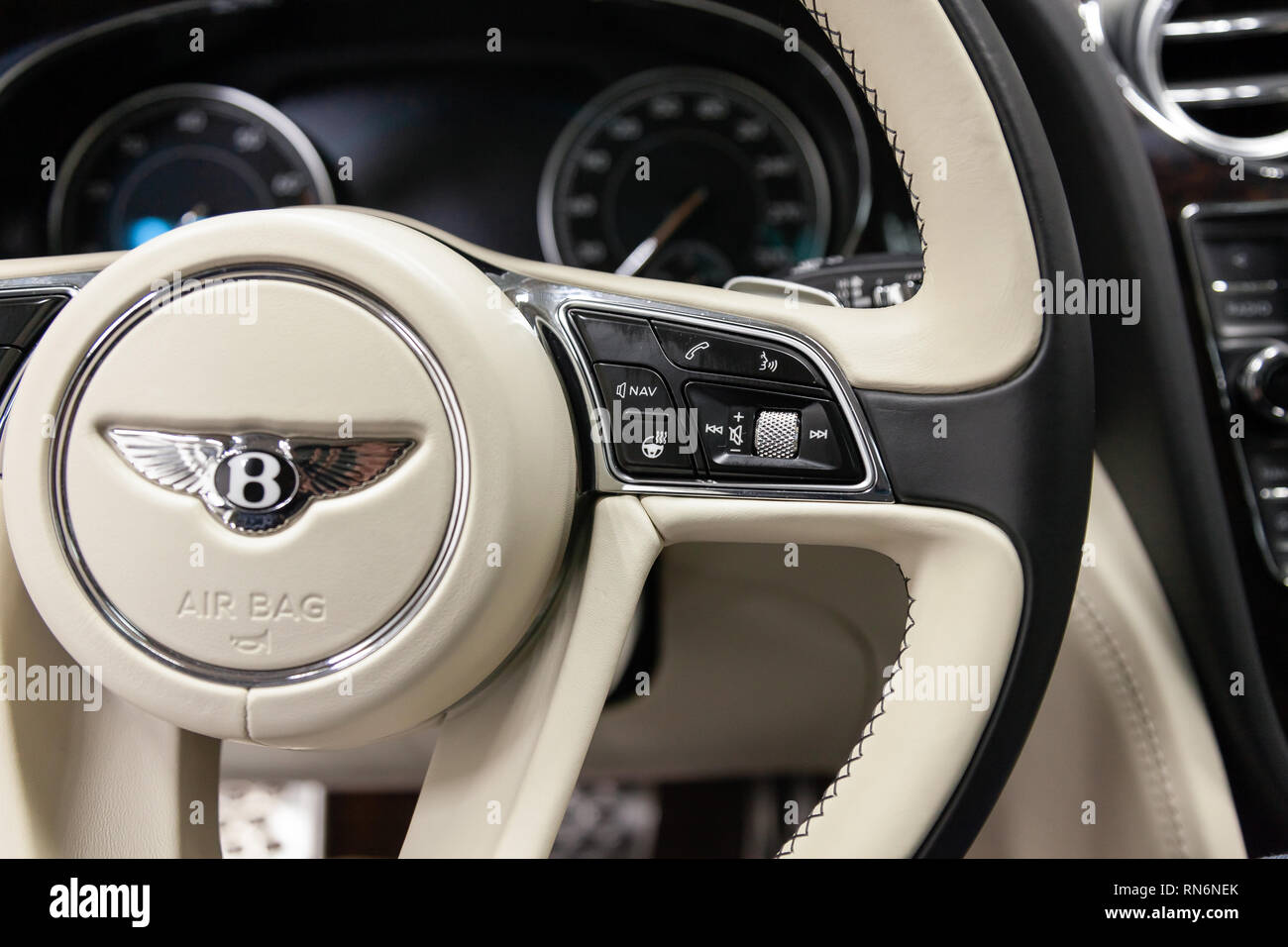 Novosibirsk Russia 08 01 18 Interior View With Steering Wheel And Buttons Of Luxury Very Expensive New Black Bentley Bentayga Car Stands In The Wa Stock Photo Alamy