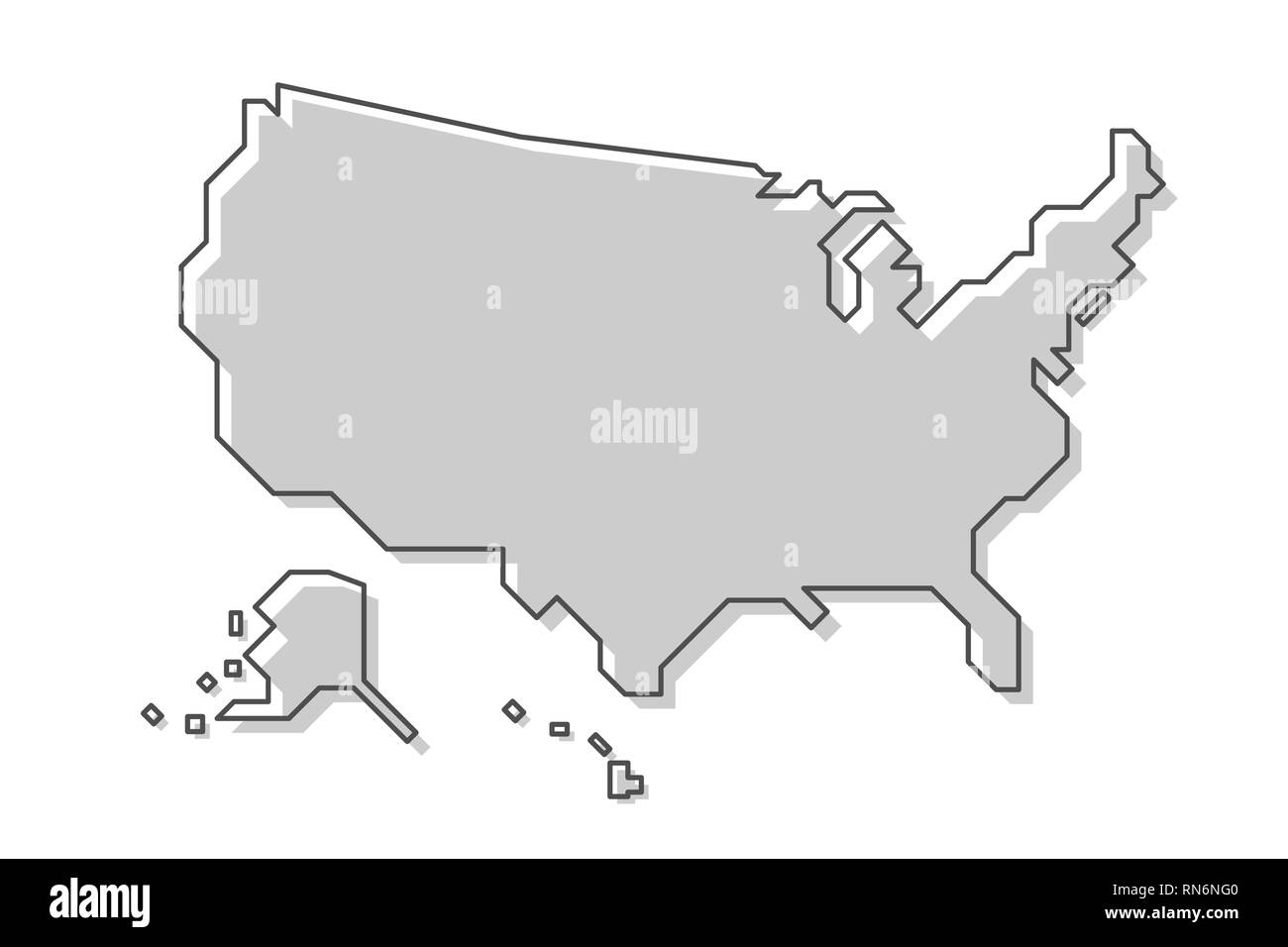 Image of: United States Of America Map Modern Simple Line Style Vector Stock Vector Image Art Alamy