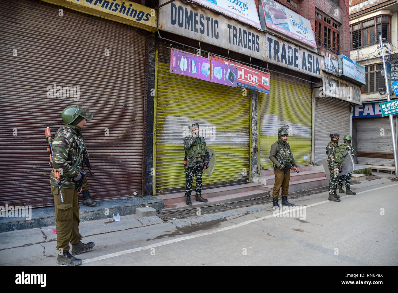 Indian army men are seen standing on guard after the protest
