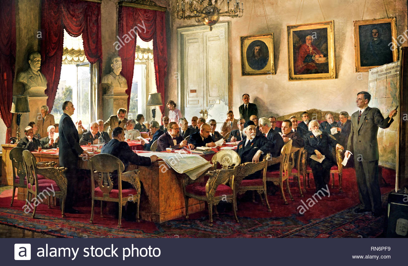 Meeting of the Presidium of the USSR Academy of Sciences.  (co-authors – V.S. Efanov, A.M. Gritsay, L.S. Kotlyarov, K.Maksimov, B.V. Stavitsky, P.S. Sudakov) by Painter Vasily Efanov. Soviet Union Communist Propaganda (Russia under Lenin and Stalin1921-1953 ). - Stock Image