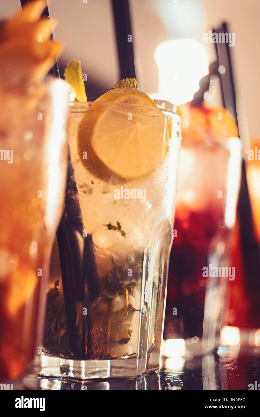 Afterwork Drinks Alcoholic Mixed Drinks With Ice Juicy Beverages