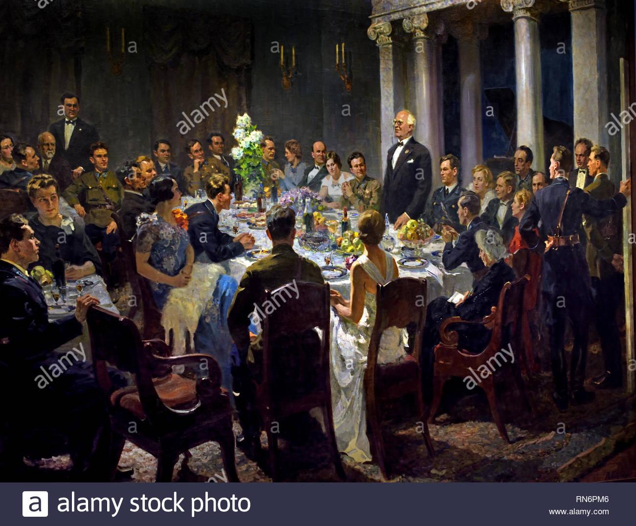 Artists of the Konstantin Stanislavsky Theatre Meeting Students of the Nikolai Zhukovsky Air Force Academy - 1938 by Painter Vasily Efanov. Soviet Union Communist Propaganda (Russia under Lenin and Stalin1921-1953 ). - Stock Image