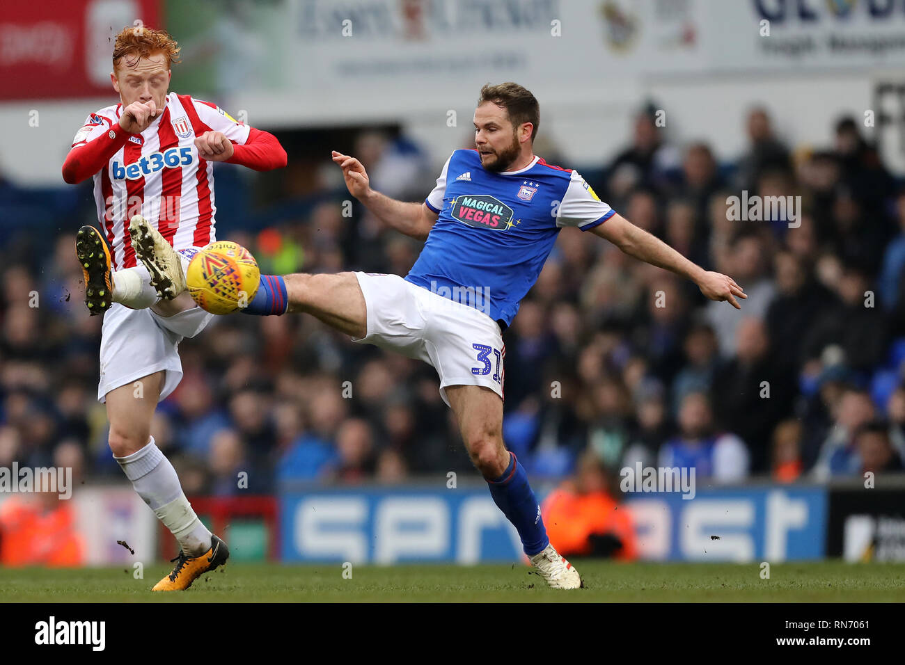 - Ipswich Town v Stoke City, Sky Bet Championship, Portman Road, Ipswich - 16th February 2019  Editorial Use Only - DataCo restrictions apply - Stock Image