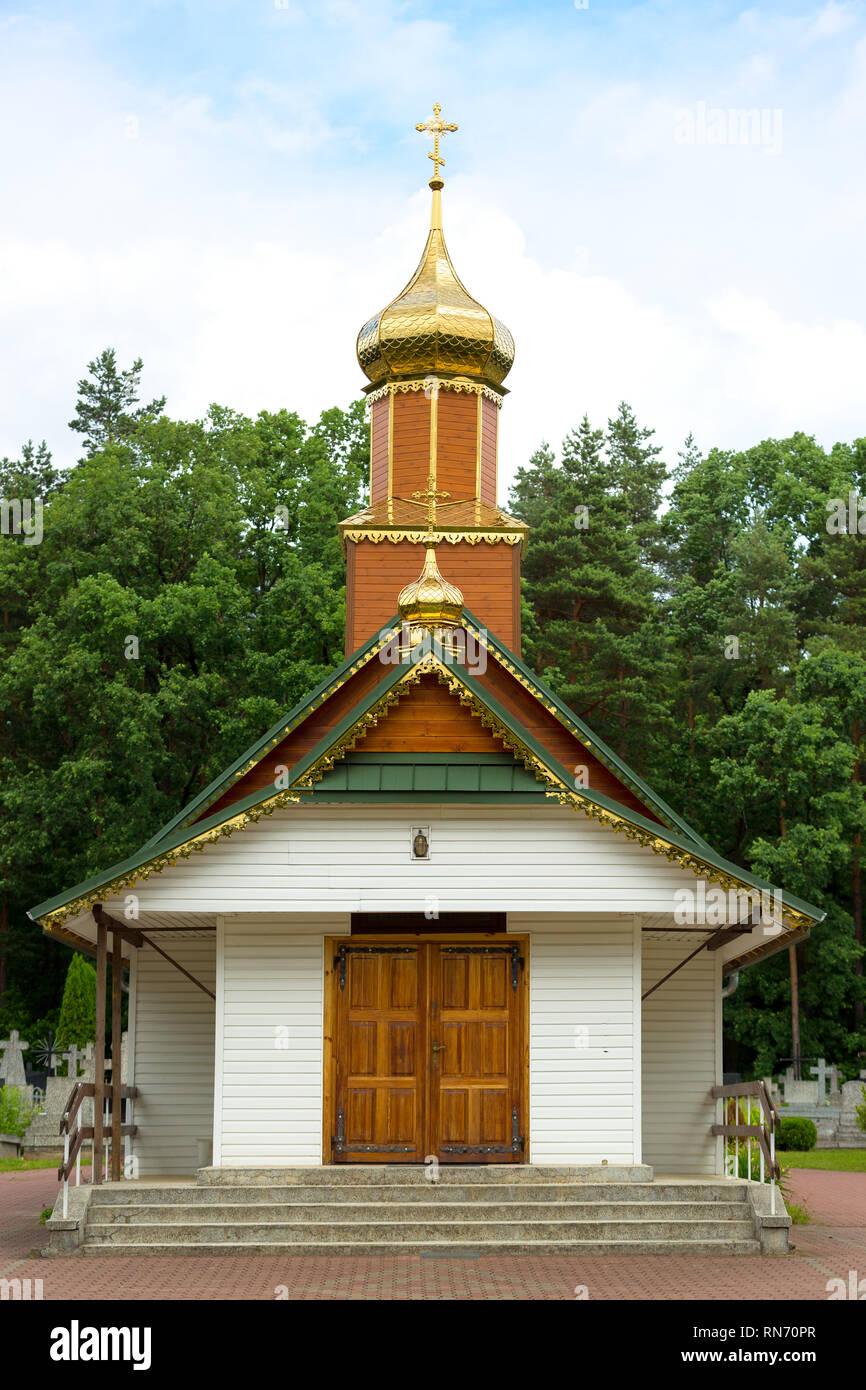 little old cemetary Orthodox church dedicatd to all saints in Hajnówka, Poland - Stock Image