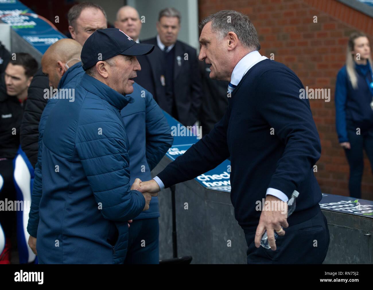 Blackburn Rovers manager Tony Mowbray (right) and