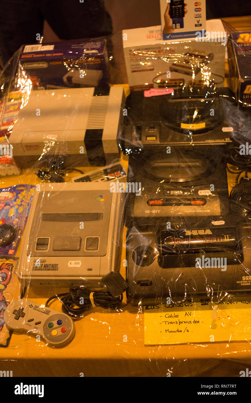 Madrid, Spain. 16th Feb, 2019. NES, Mega Drive, Mega Drive 2, Super Nintendo and Master System II. (From Left Up to Right Down). Tens of thousands comes to the most important Manga event of Madrid. Credit: Jorge Gonzalez/Pacific Press/Alamy Live News Stock Photo