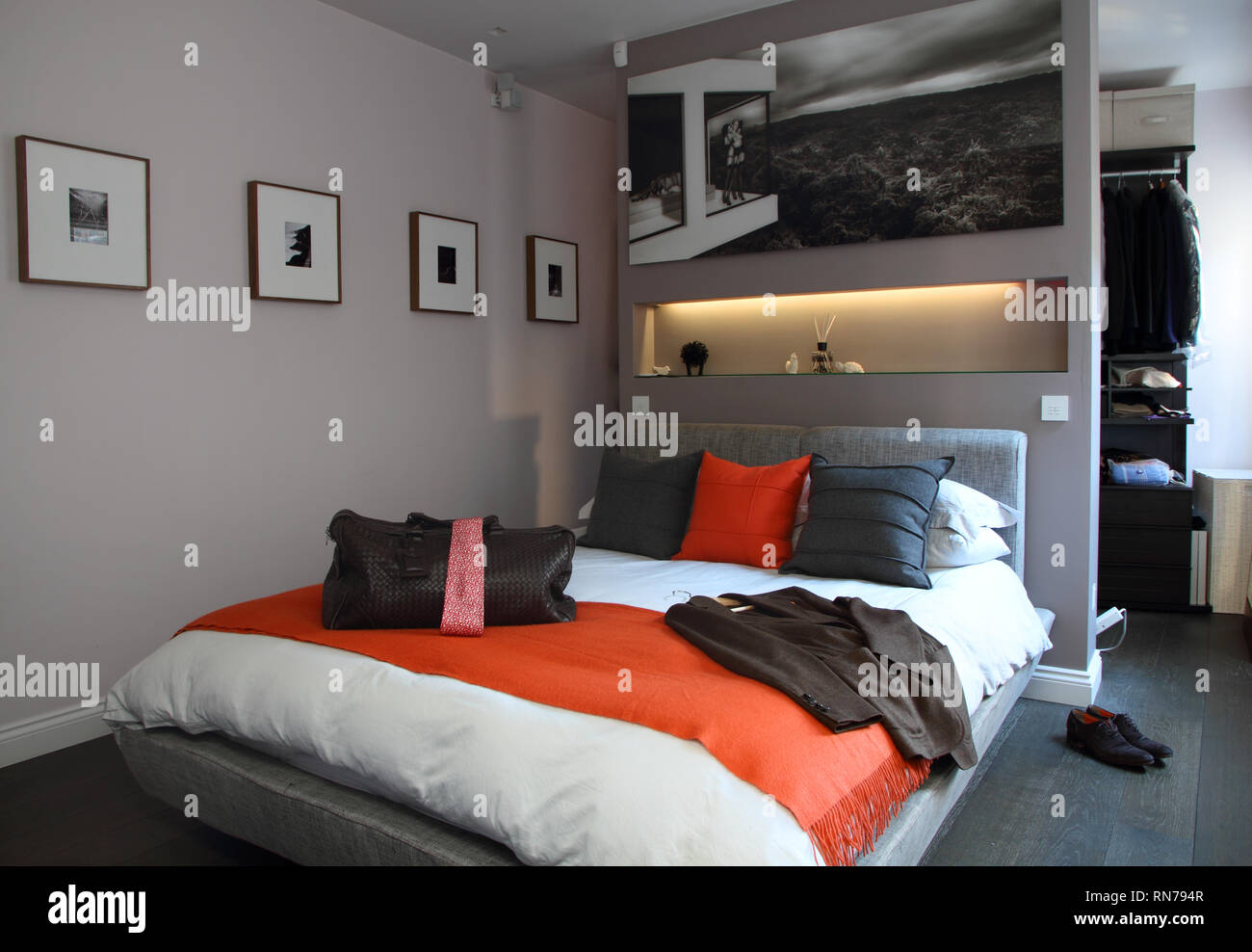 Gentleman S Masculine Modern Bedroom Stock Photo Alamy