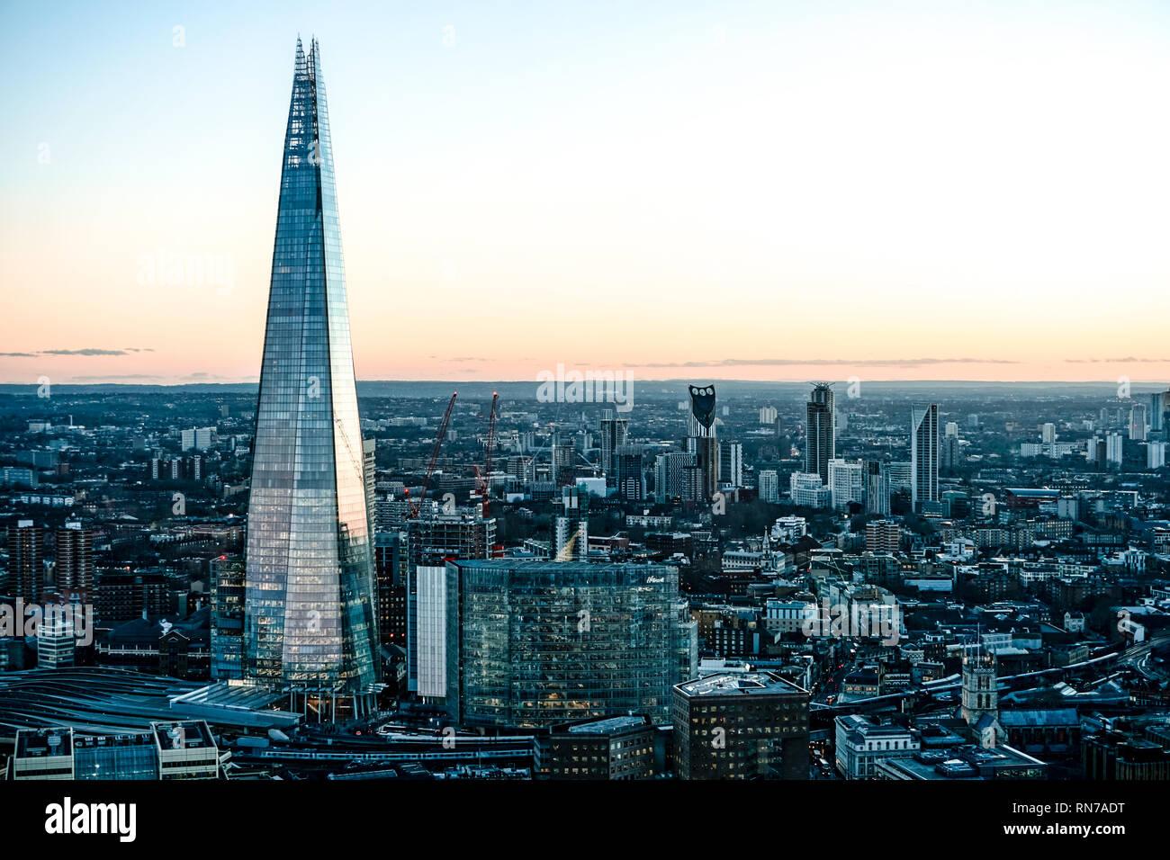 Sunset from Sky Garden [London] - Stock Image