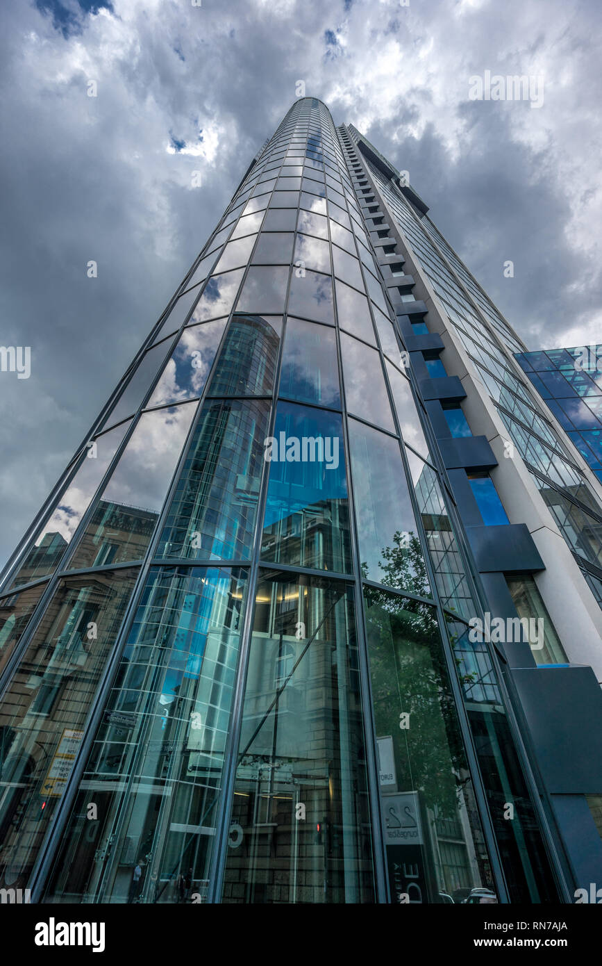 Frankfurt - July 26, 2016. Street level view of Main Tower. Located at neue mainzer street in the banking district (Bankenviertel) - Stock Image