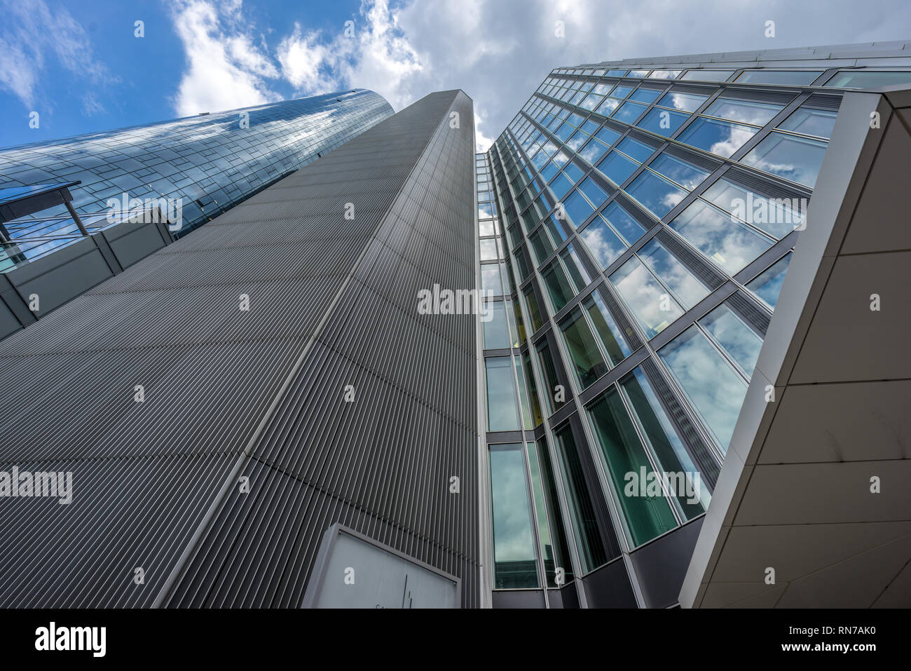 Frankfurt - July 26, 2016. Street level view of Main Tower and Garden Tower Located at neue mainzer street in the banking district (Bankenviertel) - Stock Image
