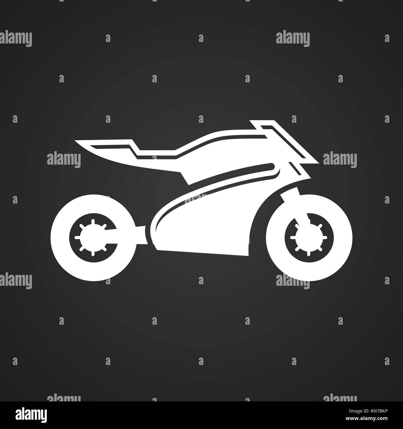 Motorcycle sport icon on black background for graphic and web design, Modern simple vector sign. Internet concept. Trendy symbol for website design web button or mobile app. Stock Vector