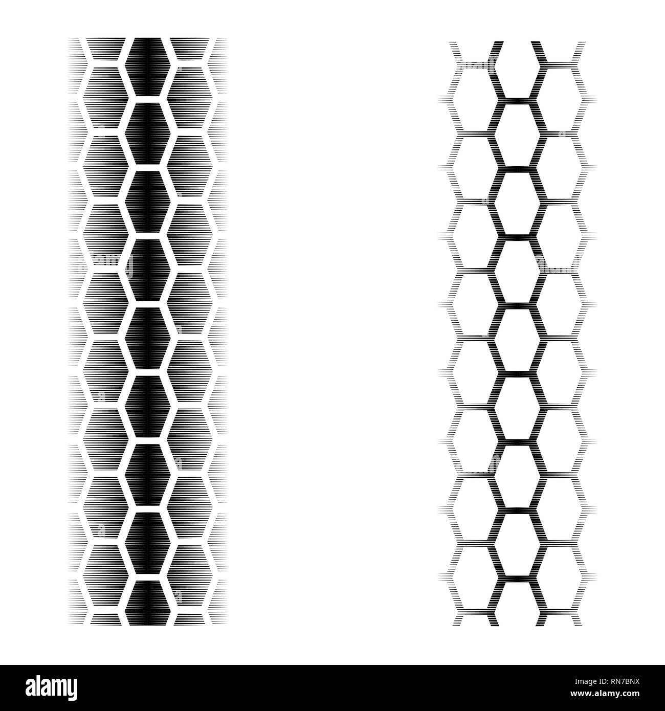 Two abstract tire tracks with blended elements isolated on white background Stock Vector