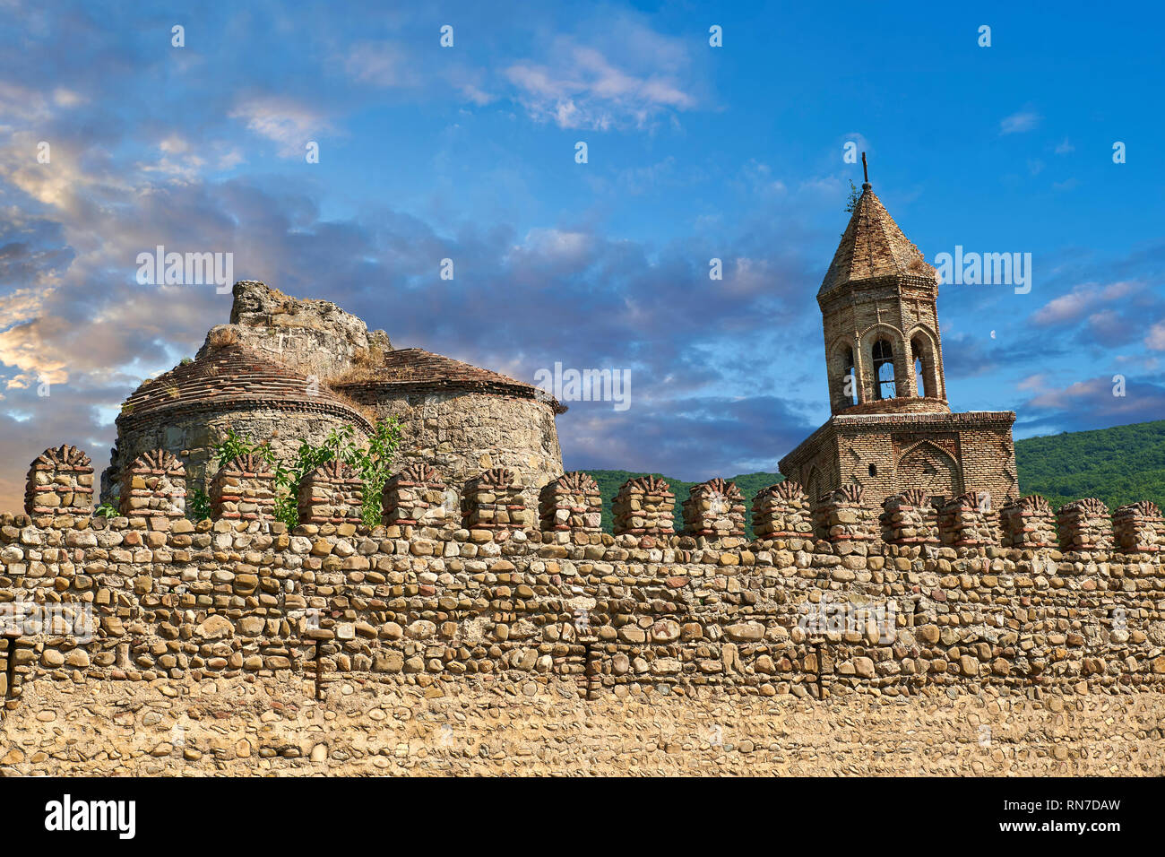 Pictures & images of the medieval the fortified curtain wall of  Ninotsminda Cathedral, 575 AD, Sagarejo, in the Kakheti region, Georgia (country).  N - Stock Image