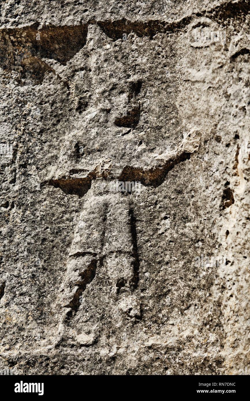 Procession of male gods in the 13th century BC Hittite religious rock carvings of Yazılıkaya Hittite rock sanctuary, chamber A,  Hattusa, Bogazale, Tu - Stock Image