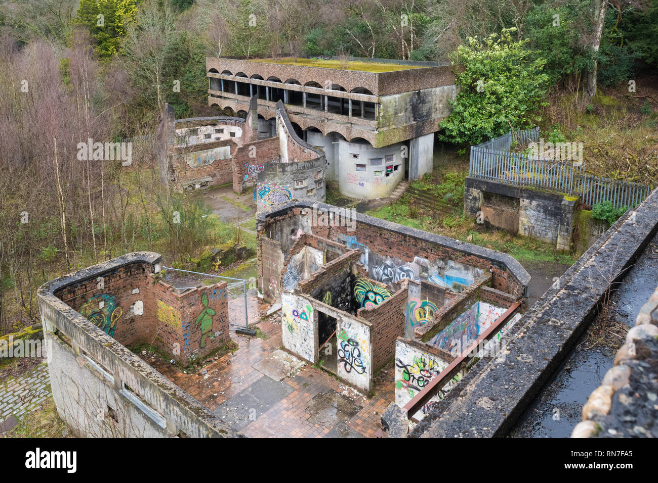 convent for nuns at St Peter's Seminary in 2019 - a derelict A listed brutalist style building and former priest's training centre, Cardross, Scotland - Stock Image