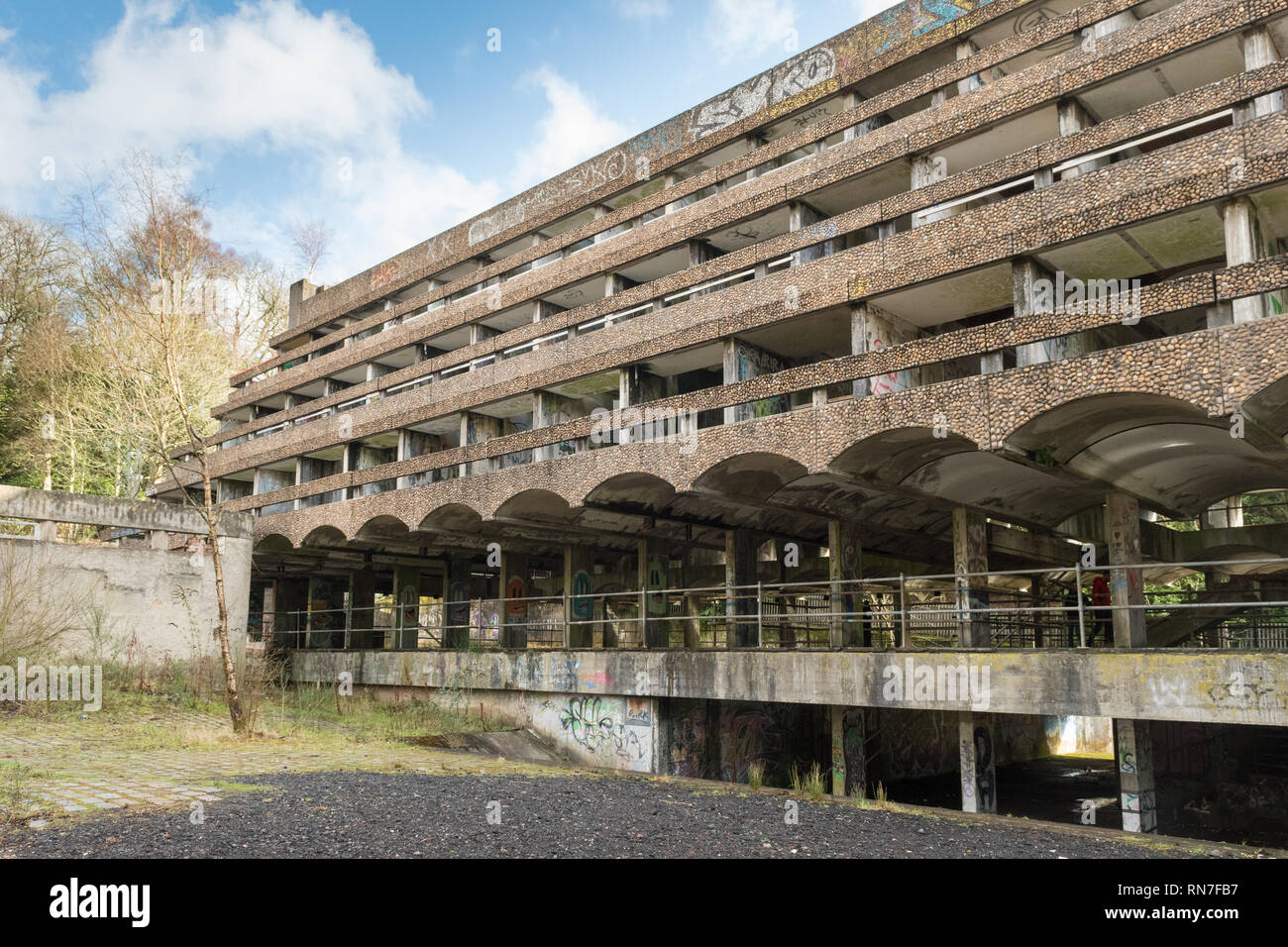 St Peter's Seminary in 2019 - a derelict A listed brutalist style building and former priest's training centre in Cardross, Argyll and Bute, Scotland - Stock Image