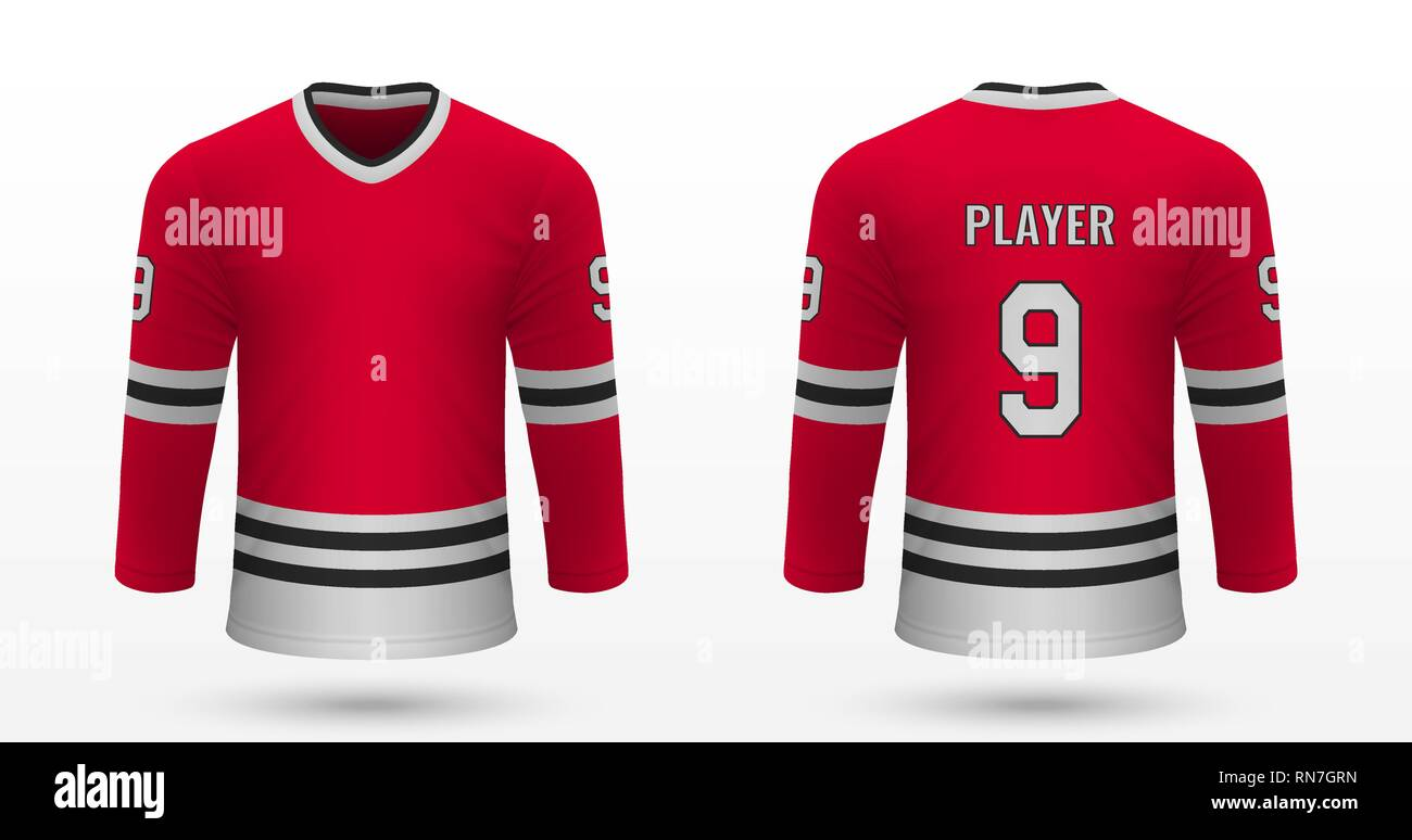 new style d515e d434d Realistic sport shirt Chicago Blackhawks, jersey template ...