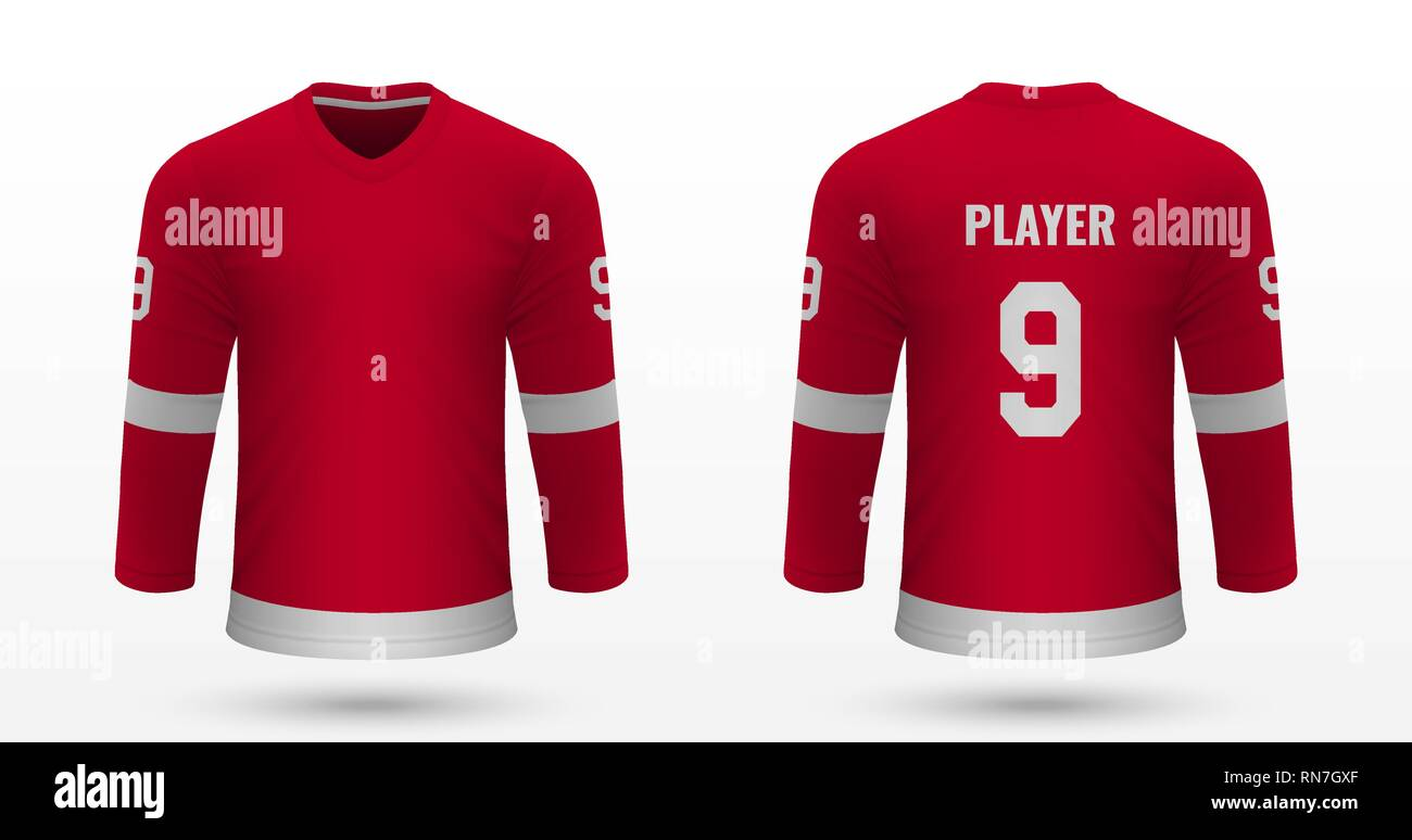 low cost 9d750 d7563 Realistic sport shirt Detroit Red Wings, jersey template for ...