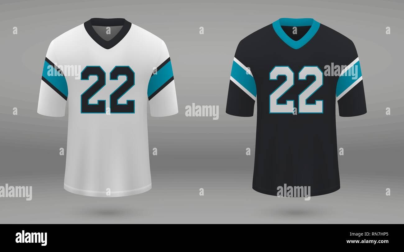 meet e615d 00c6f Realistic american football jersey Carolina Panthers, shirt ...