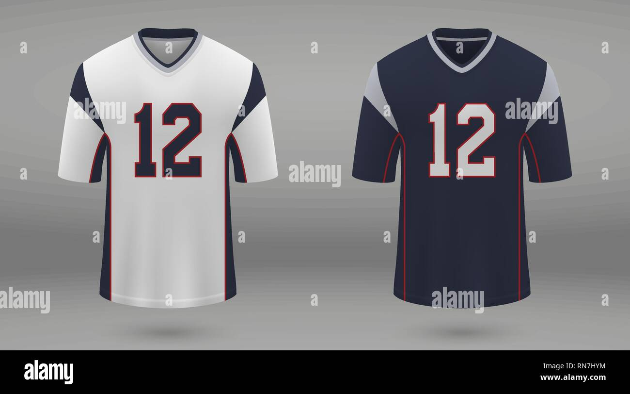 Realistic american football jersey New England Patriots, shirt template for kit. Vector illustration - Stock Image