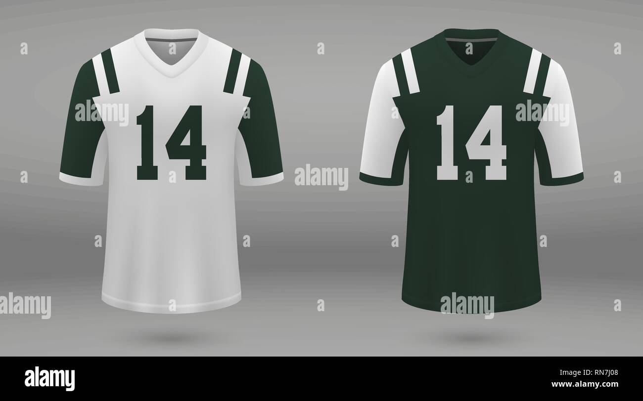 ab2eb4b7f97 Realistic american football jersey New York Jets, shirt template for kit.  Vector illustration