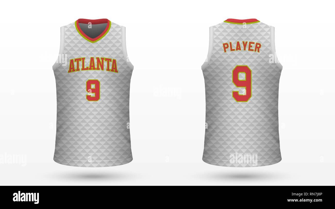 94e27ec90af Realistic sport shirt Atlanta Hawks, jersey template for basketball kit.  Vector illustration