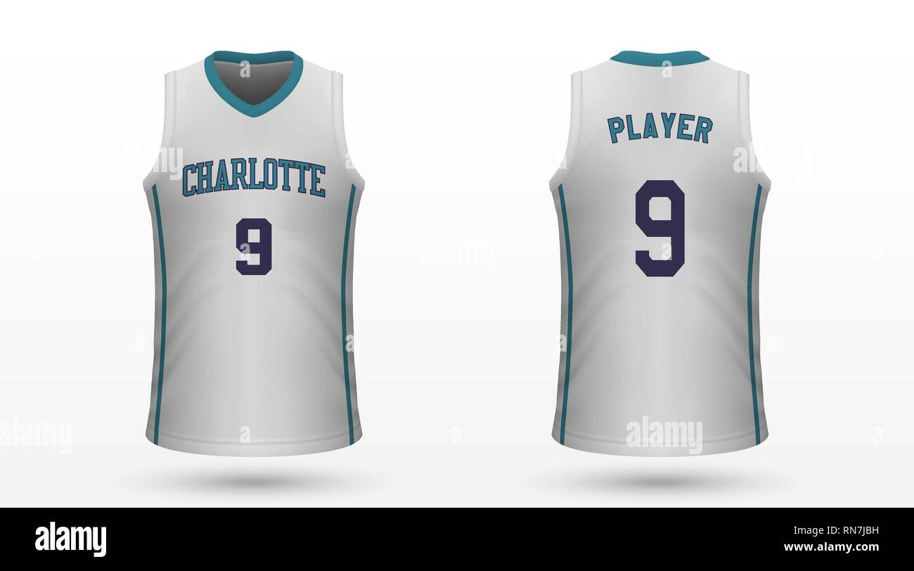 buy popular 78cfa c3c0c Realistic sport shirt Charlotte Hornets, jersey template for ...
