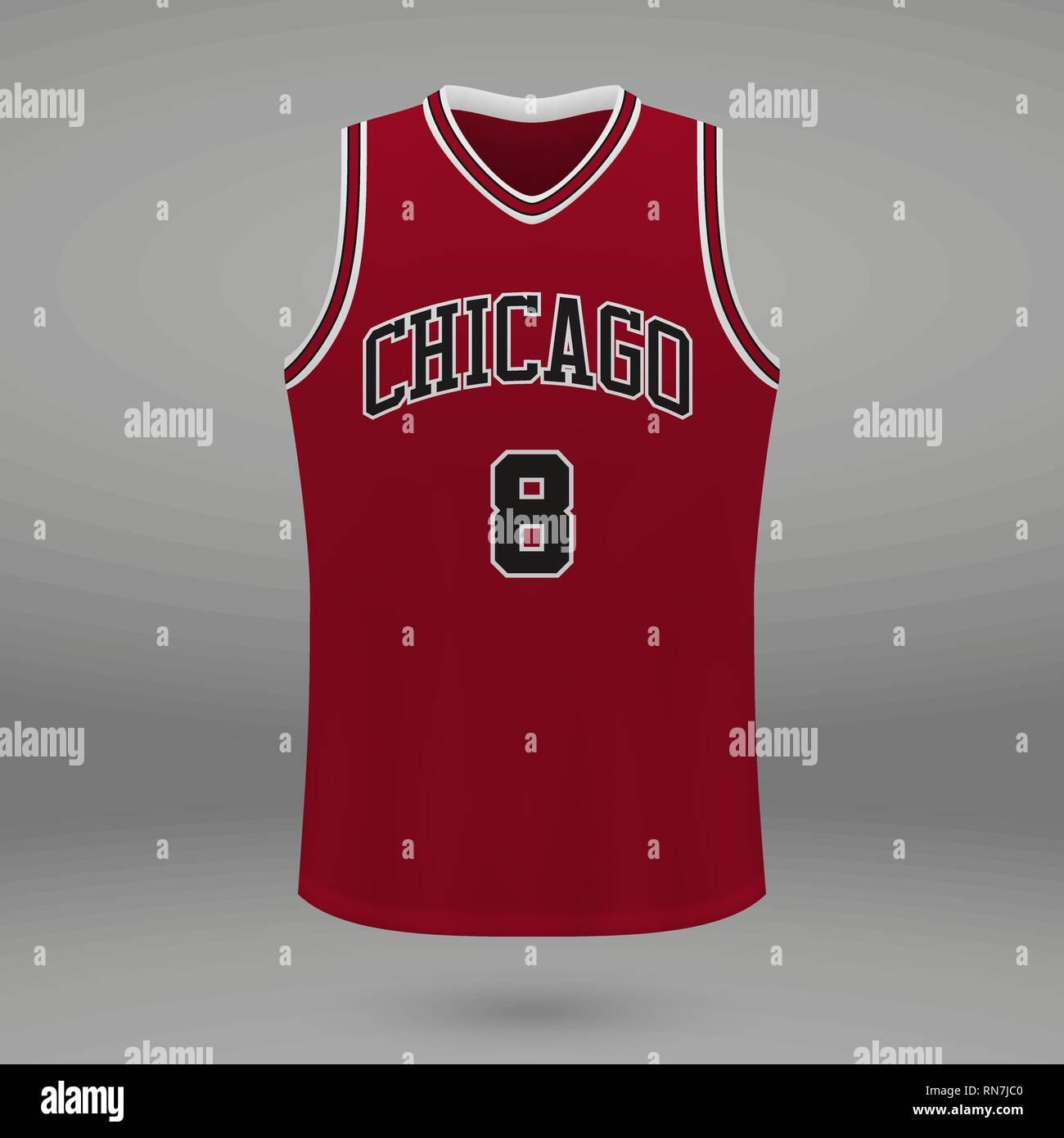 huge discount b092e 350c3 Realistic sport shirt Chicago Bulls, jersey template for ...