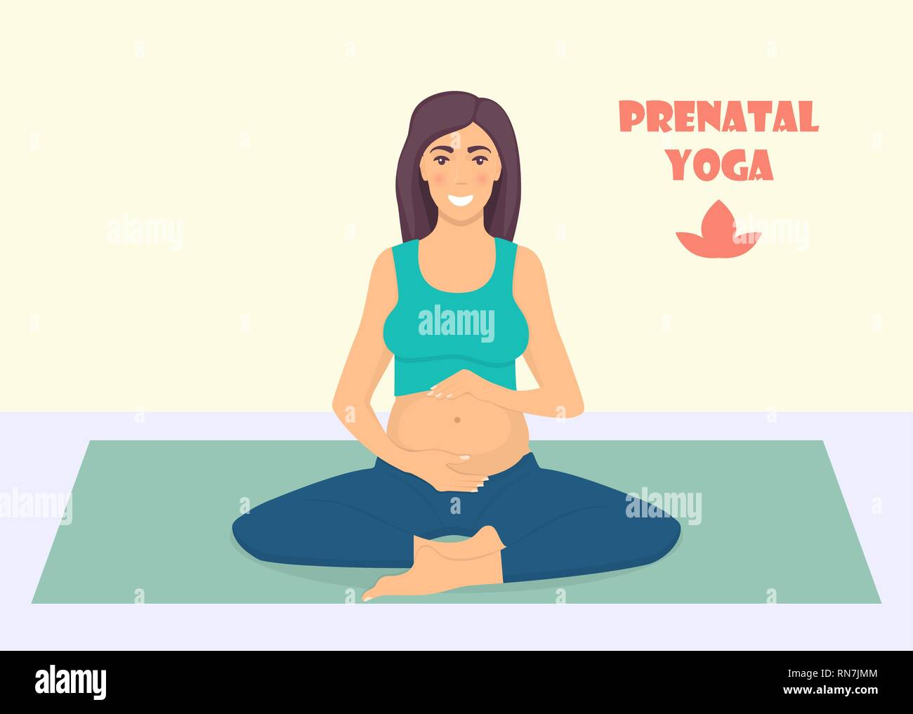 Pregnant Woman Doing Yoga Exercises On The Mat Pregnant Women In Lotos Pose Prenatal Yoga Vector Illustration In Flat Style Stock Vector Image Art Alamy