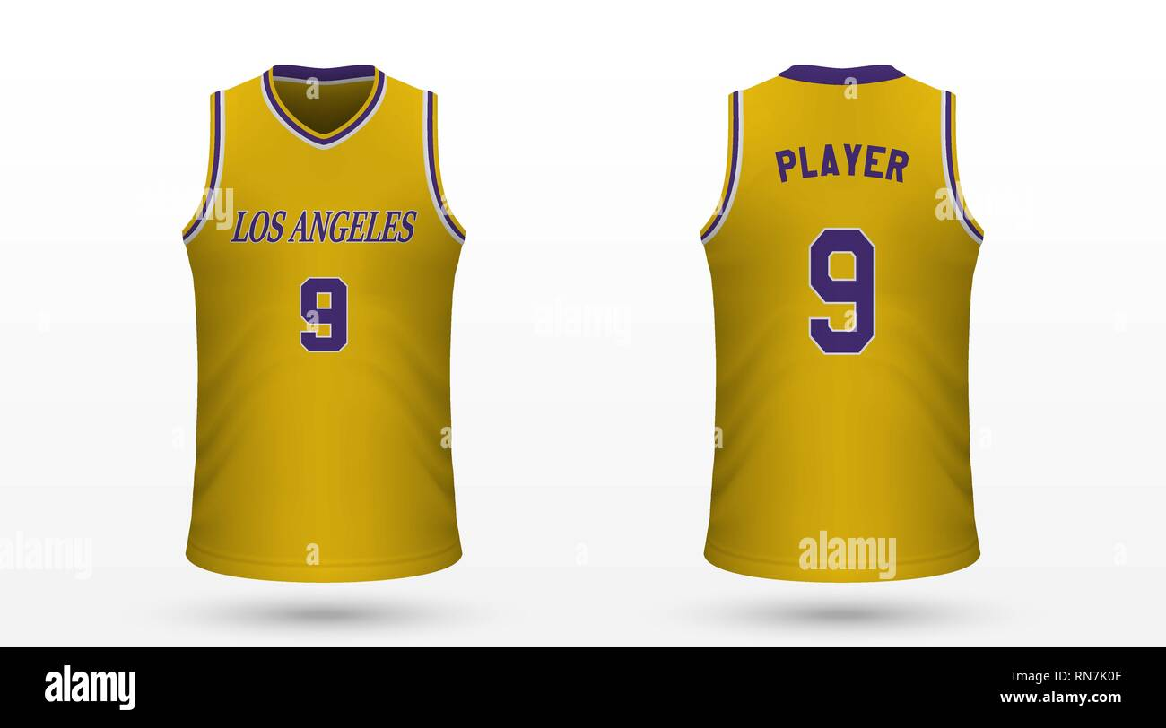 online store 91321 92f5b Realistic sport shirt Los Angeles Lakers, jersey template ...