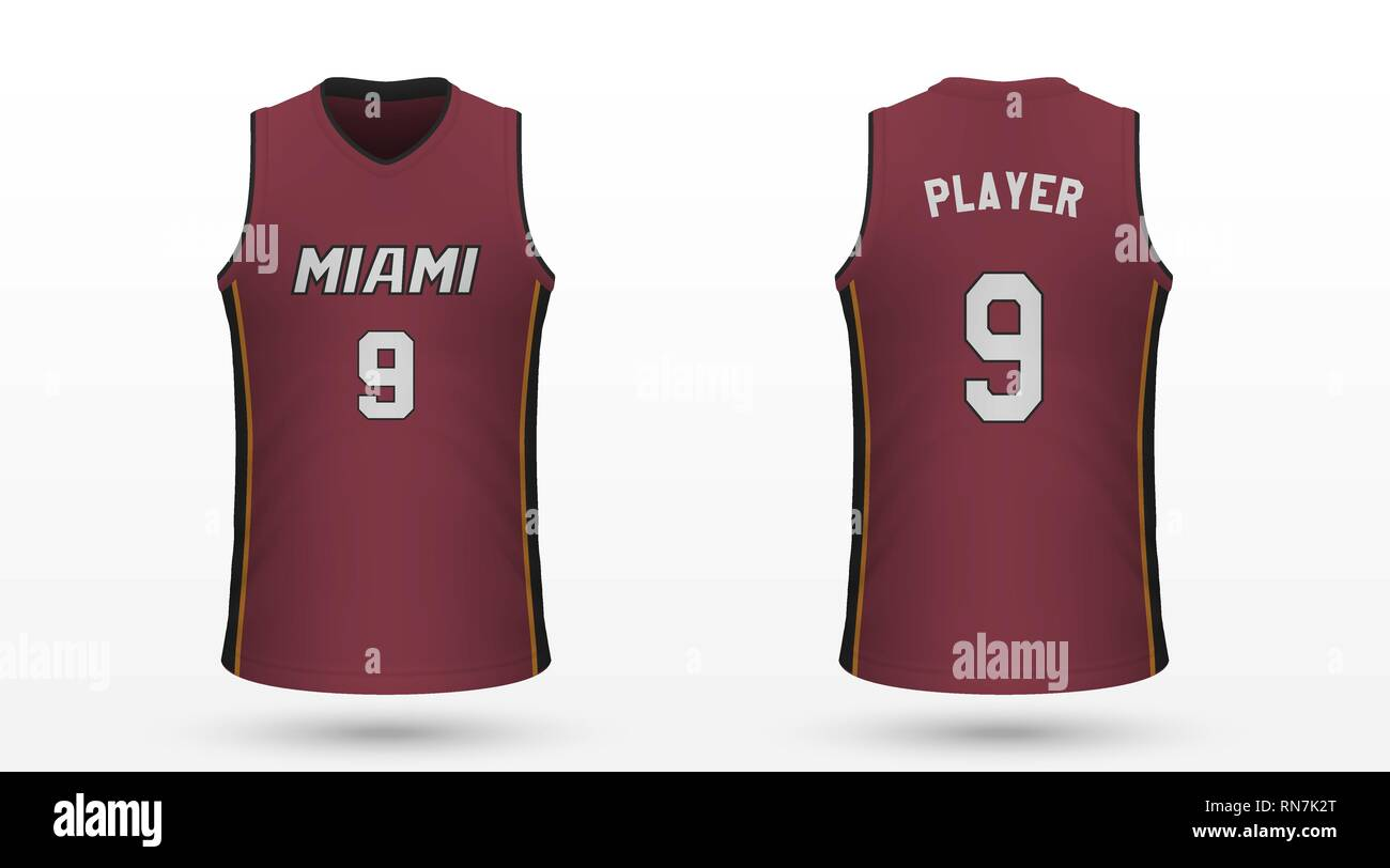 timeless design 813d0 d6a44 Realistic sport shirt Miami Heat, jersey template for ...