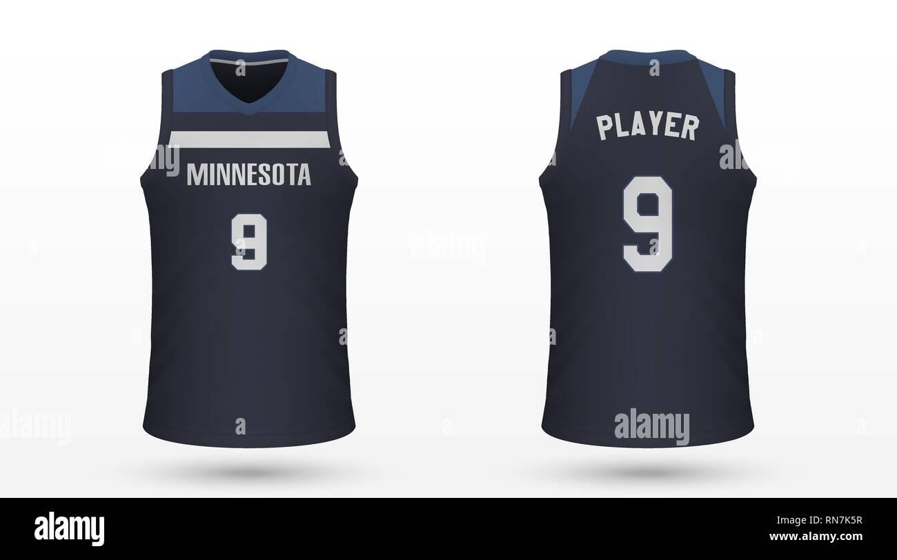 Realistic Sport Shirt Minnesota Timberwolves Jersey Template For