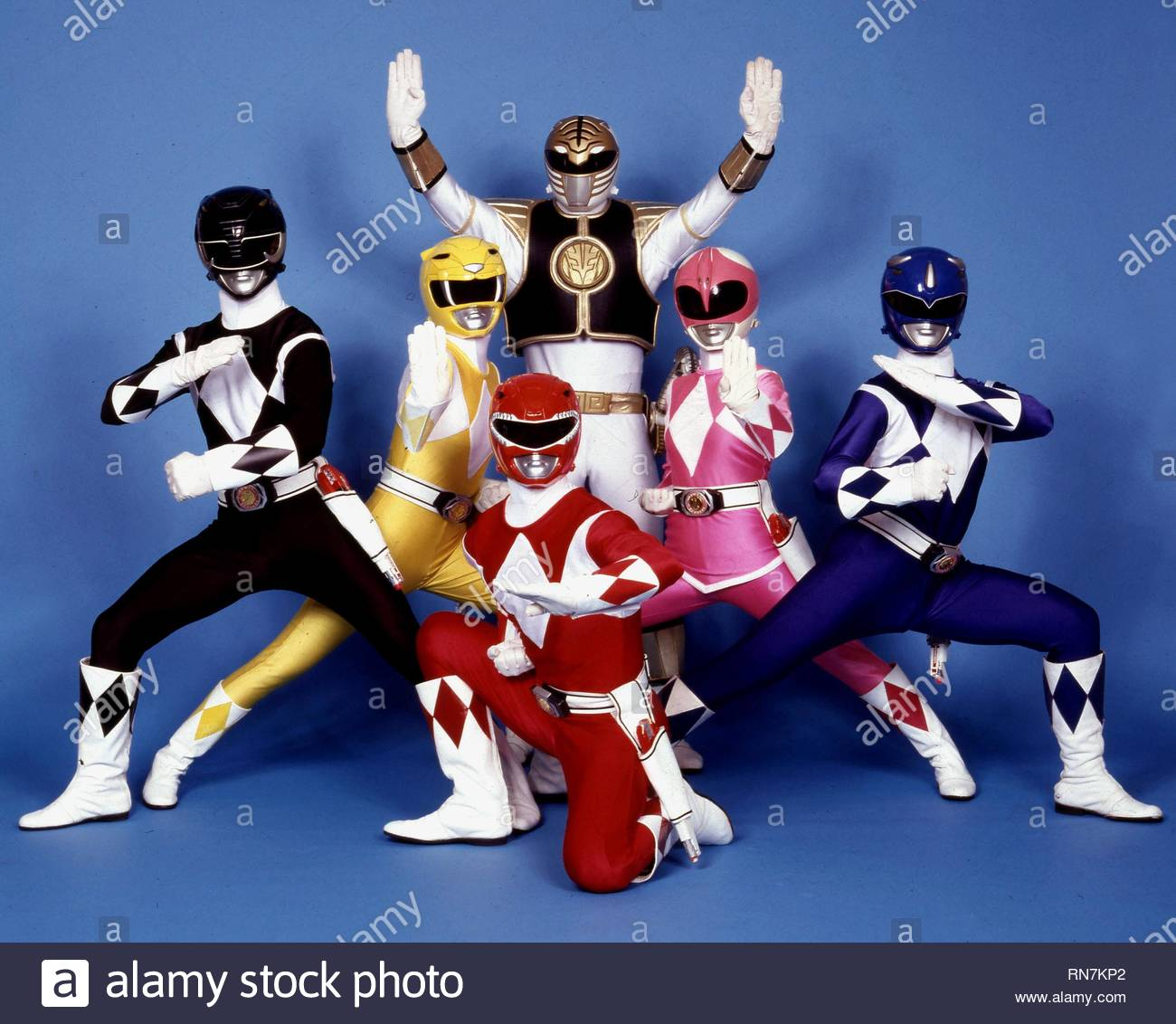 BLACK RANGER, YELLOW RANGER, RED RANGER, WHITE RANGER, PINK RANGER,BLUE RANGER, MIGHTY MORPHIN POWER RANGERS, 1993 - Stock Image