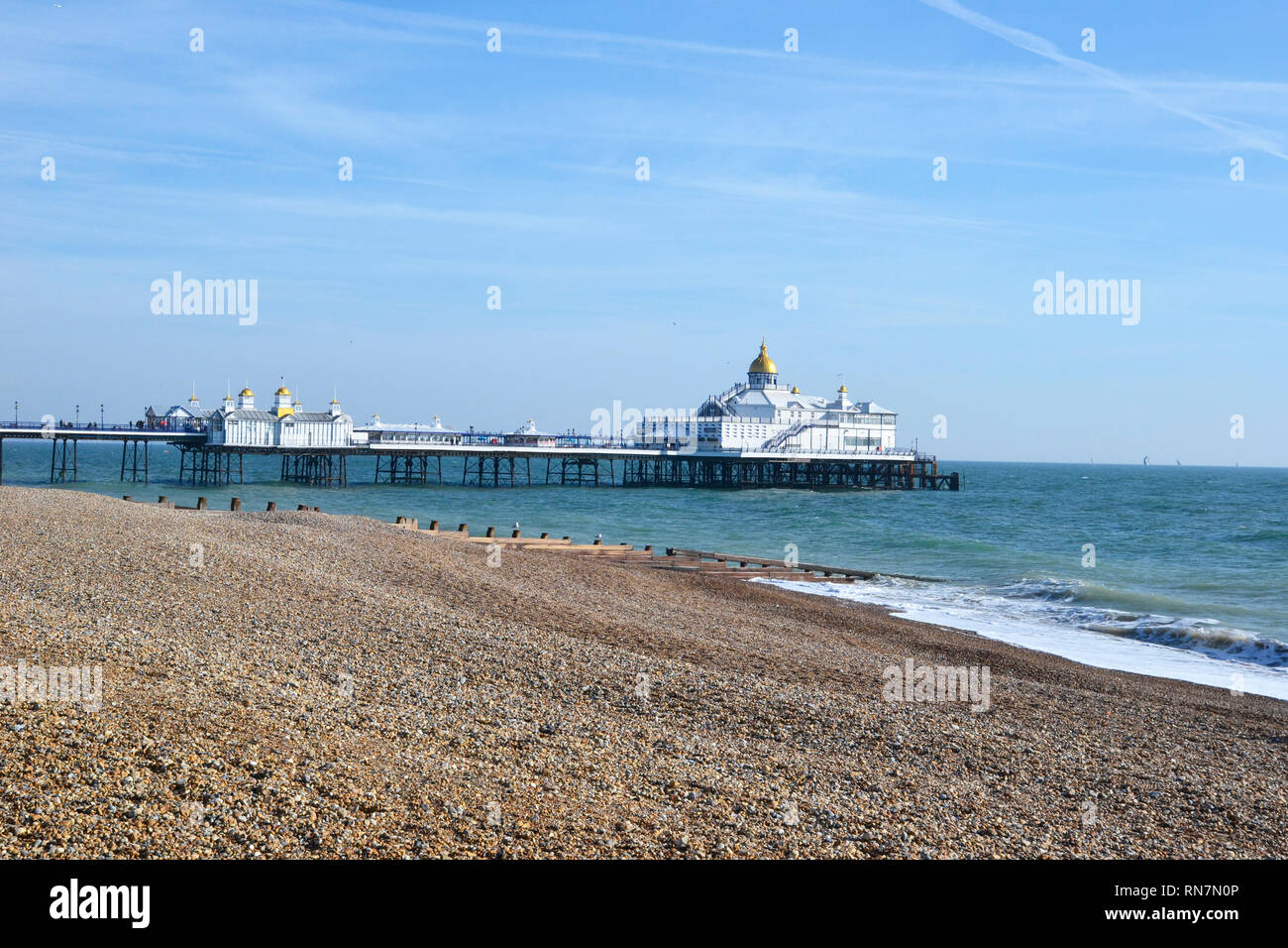 View of Eastbourne Pier, Beach and Seafront from the Promenade, England, UK Stock Photo