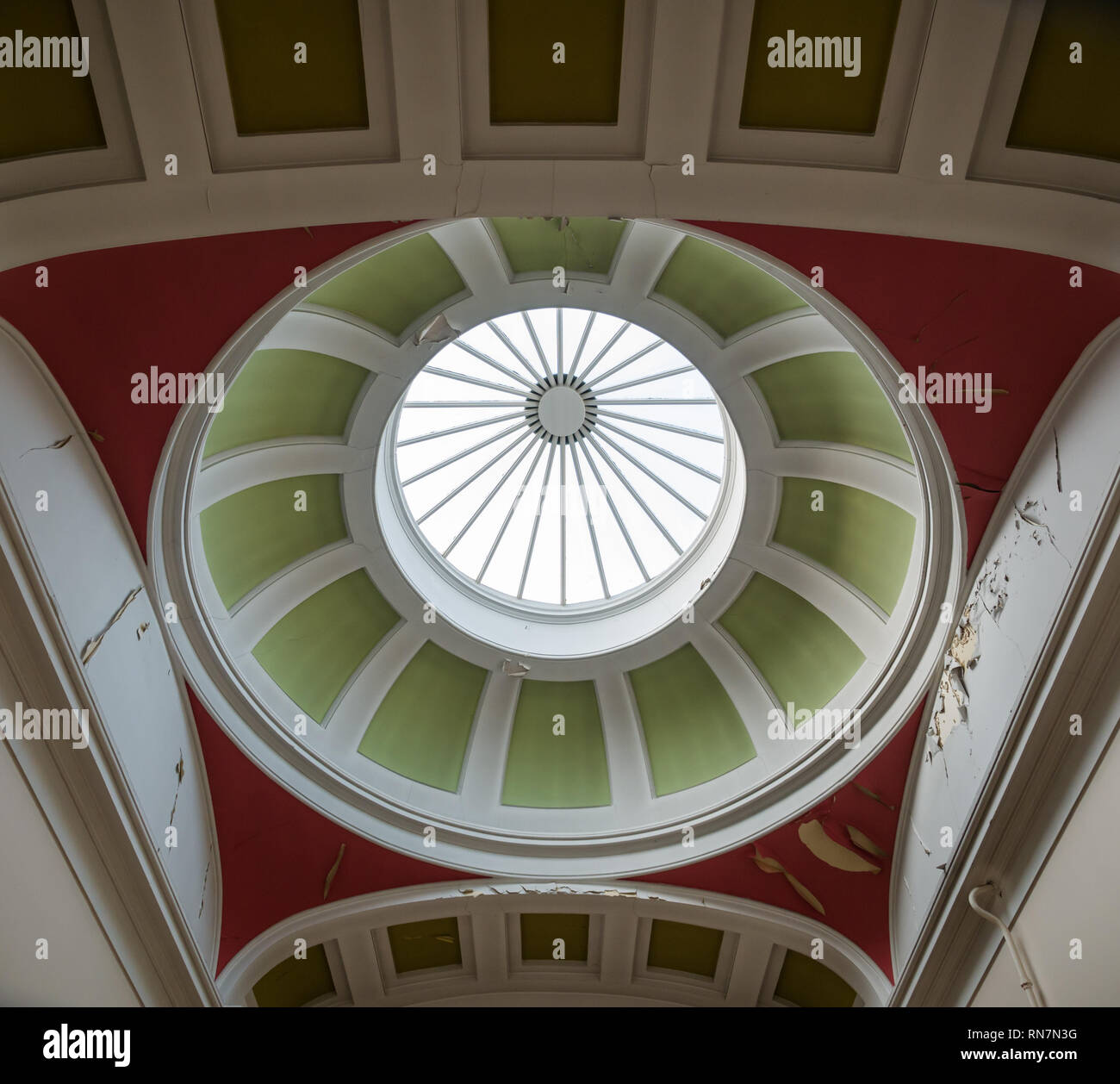 Glass dome cupola ceiling with flaking paint in need of refurbishment, Leith Custom House, Edinburgh, Scotland, UK - Stock Image