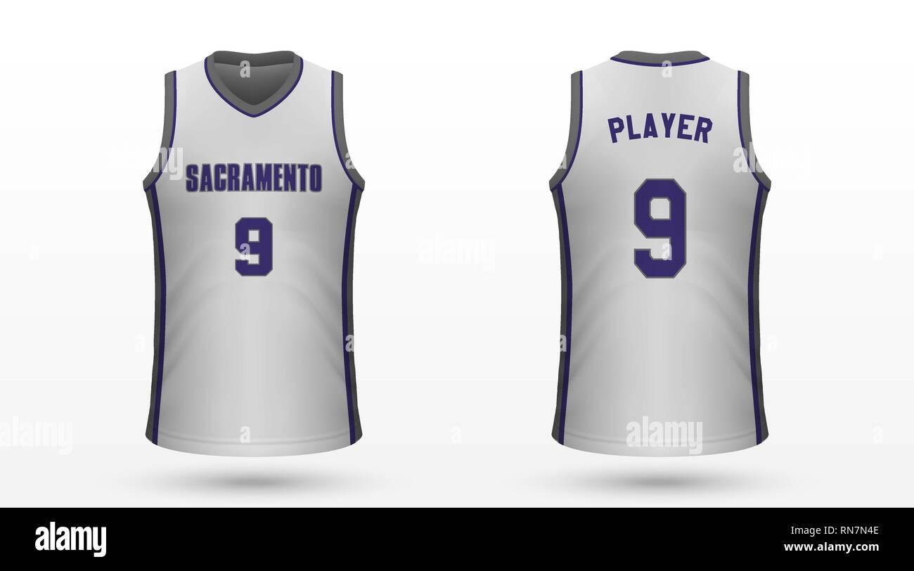 on sale 6f375 e52de Realistic sport shirt Sacramento Kings, jersey template for ...
