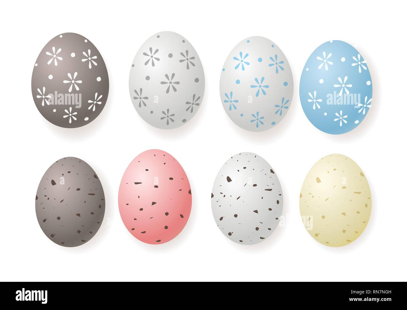 Decorated Easter quail eggs isolated on white background - Stock Vector