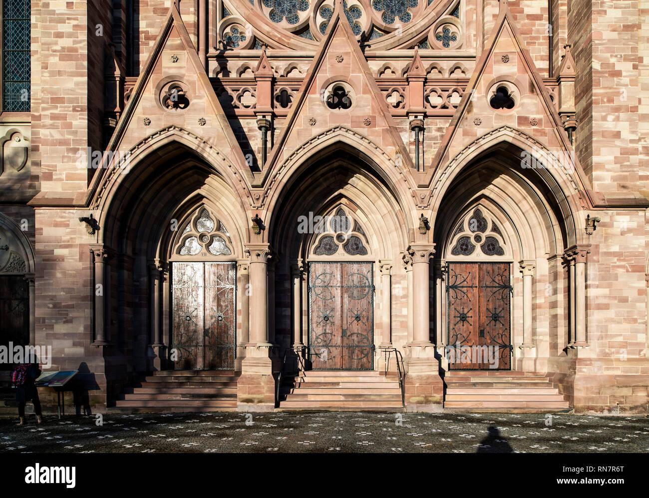Strasbourg, Alsace, France, St Paul protestant church, main portals, Neustadt district, - Stock Image