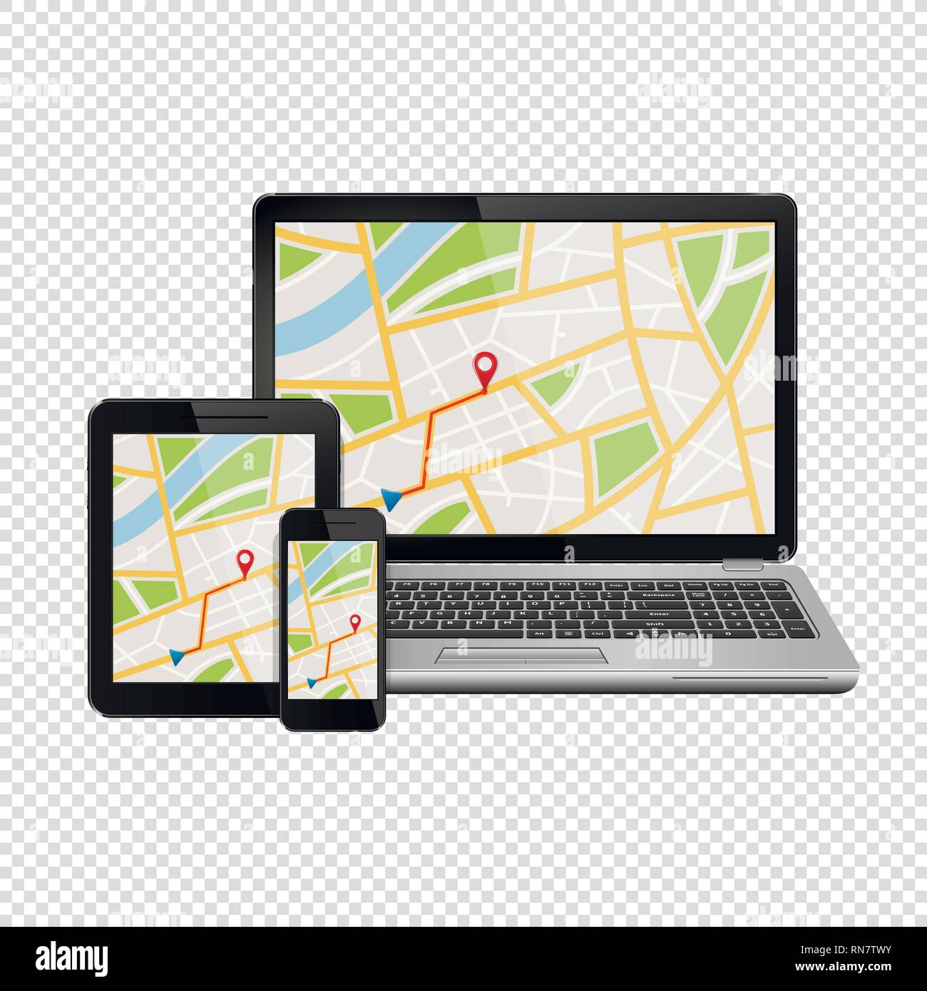 GPS navigation map on display of modern digital devices isolated on transparent background - Stock Vector