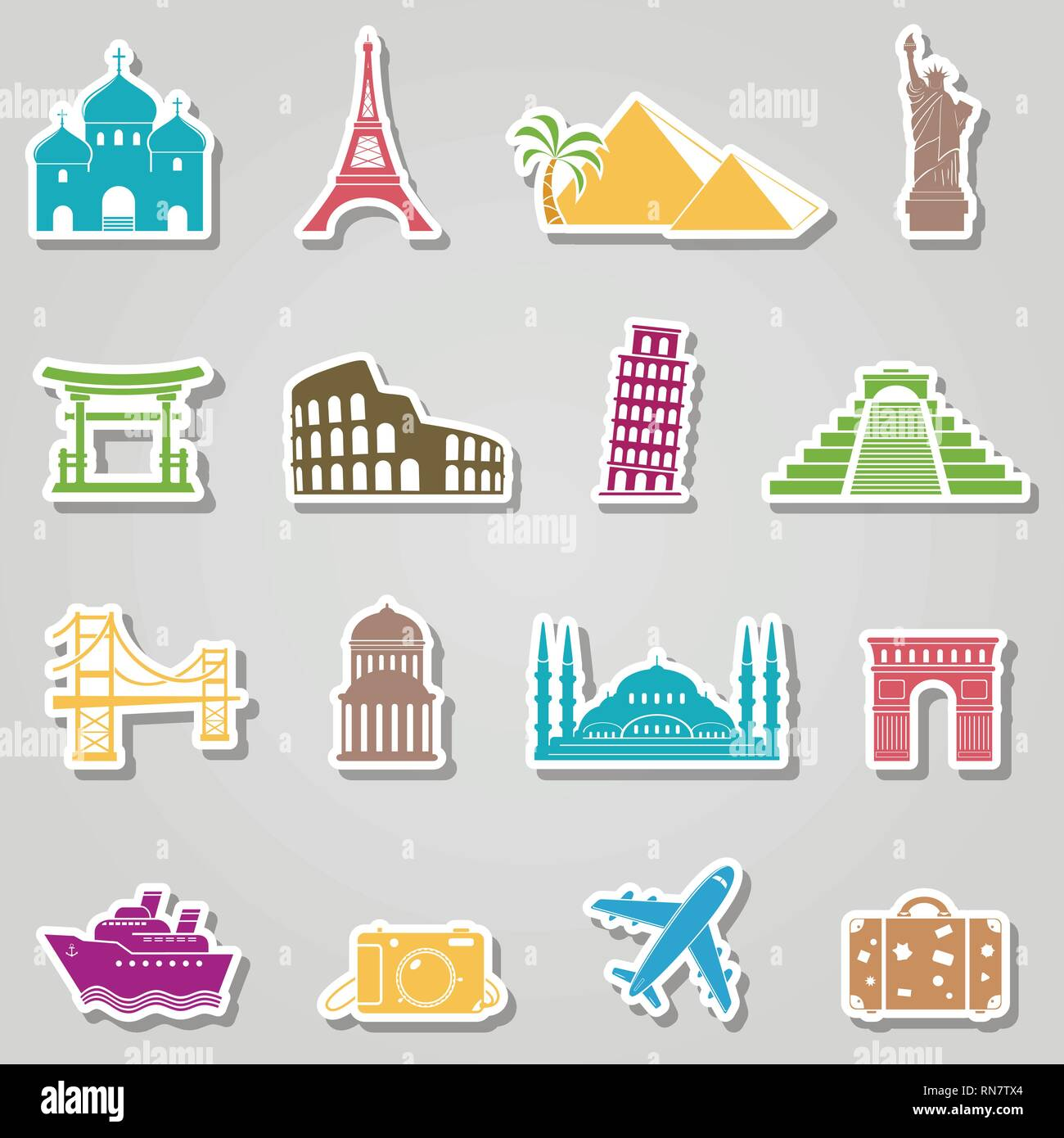 Landmarks stickers on grey background - Stock Vector