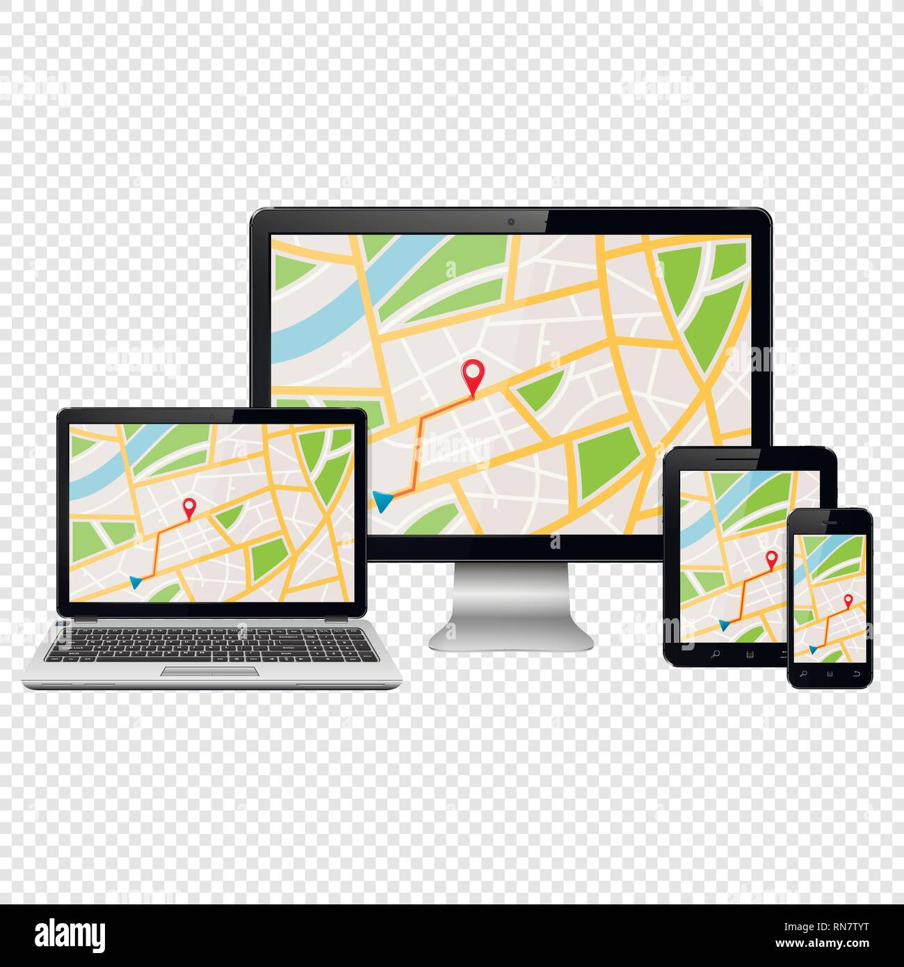 GPS map on modern digital devices isolated on transparent background - Stock Vector