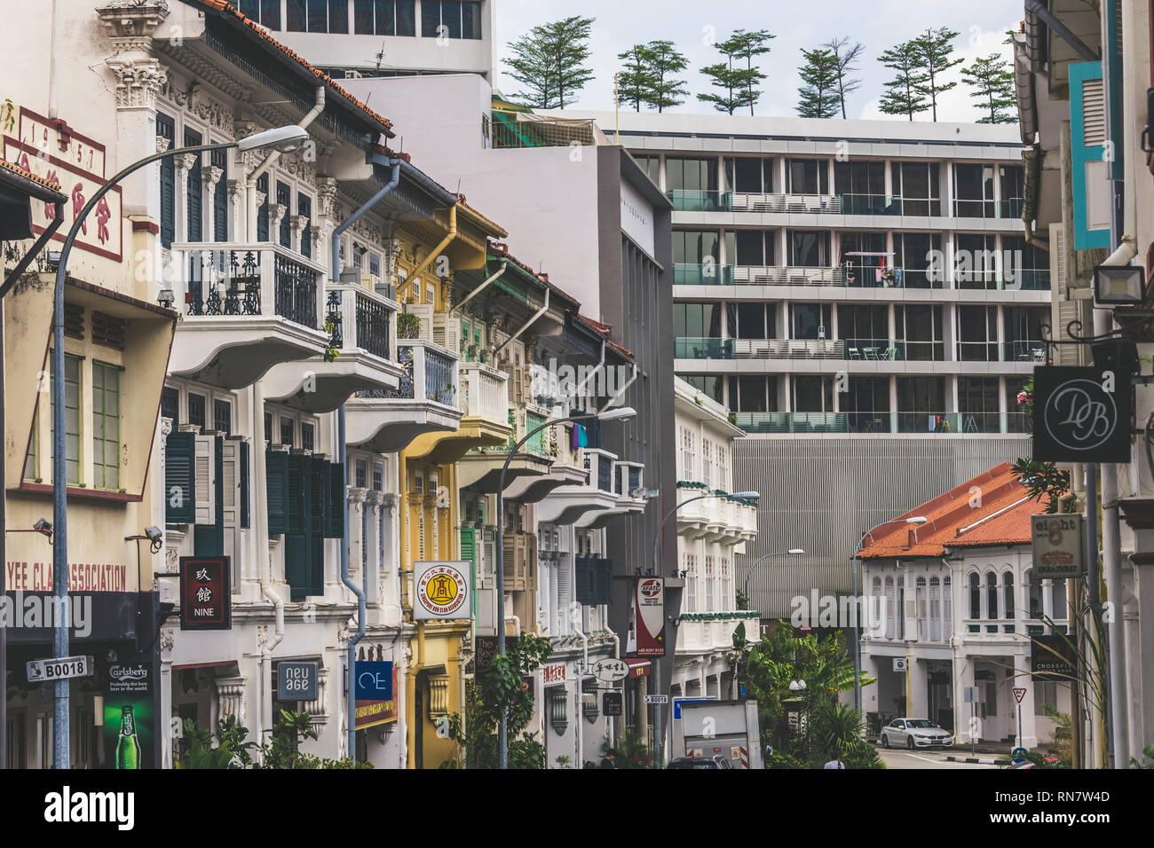 Singapore / Singapore - February 17 2019: Street view of art deco shophouses along Bukit Pasoh Conservation area in elegant muted matt filter - Stock Image
