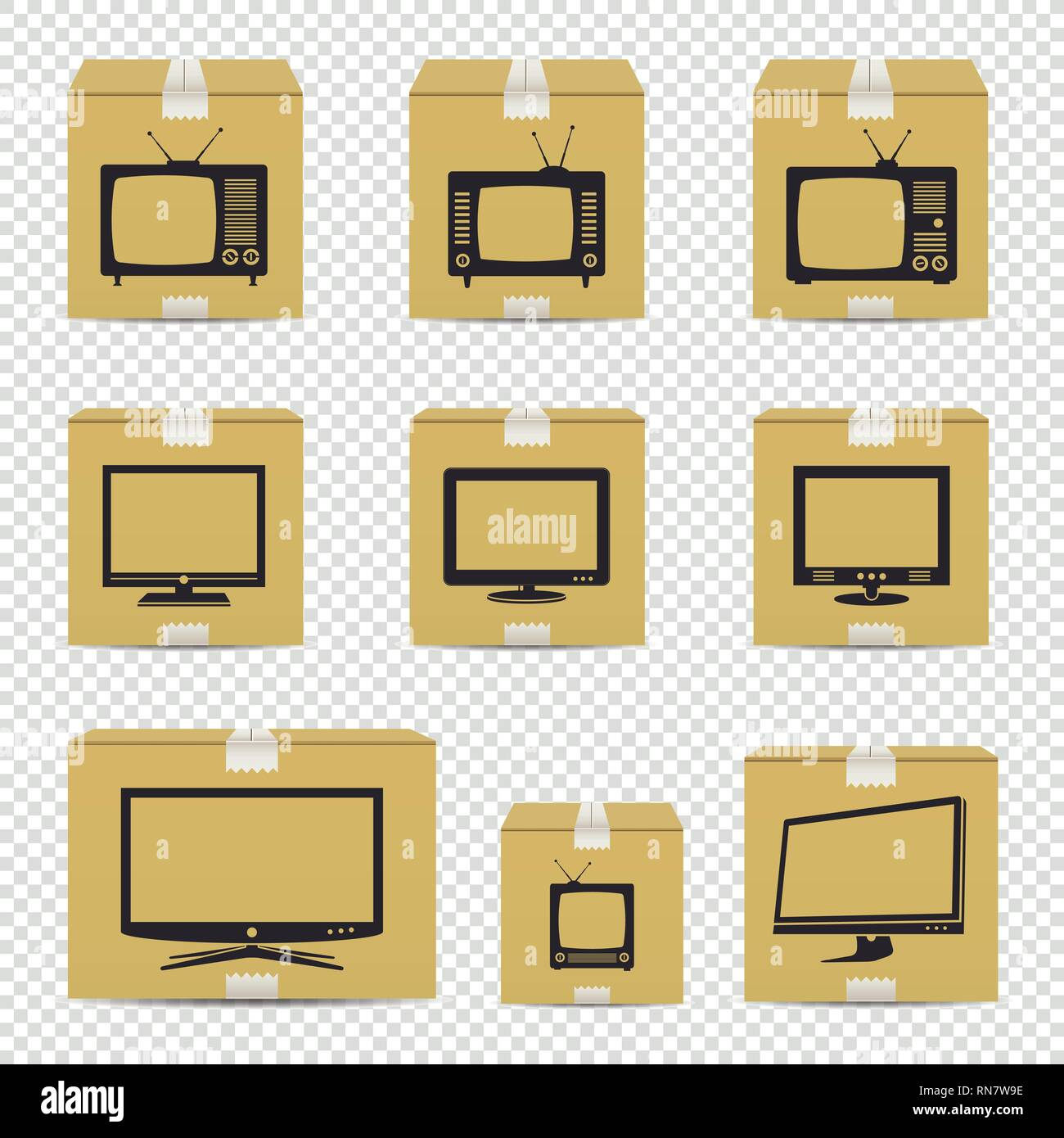 TV cardboard boxes isolated on transparent background - Stock Image