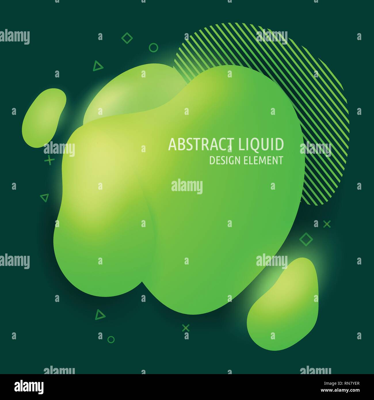 Abstract modern flowing liquid shapes design elements. Dynamical bright green gradient colored banner - Stock Vector