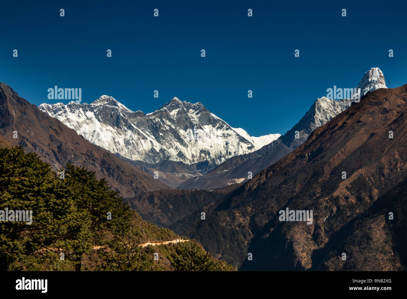 Nepal, Namche Bazaar, Sagarmatha National Park, Visitor Centre, panoramic view of Mount Everest, Llotse, Nuptse and Ama Dablam - Stock Image