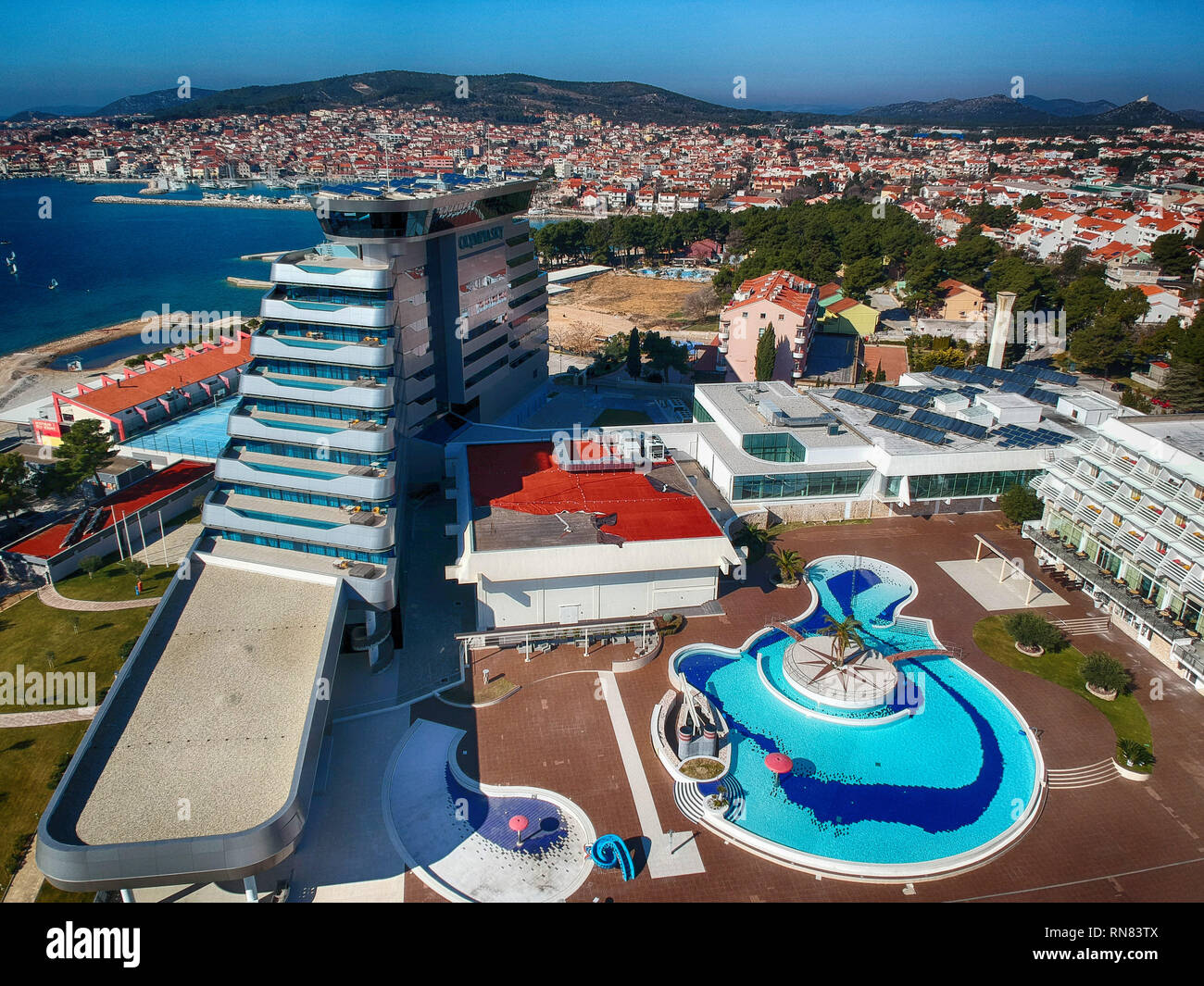 Vodice and Olympia Sky hotel Stock Photo